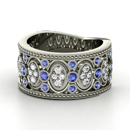 Renaissance Band, Sterling Silver Ring with Sapphire