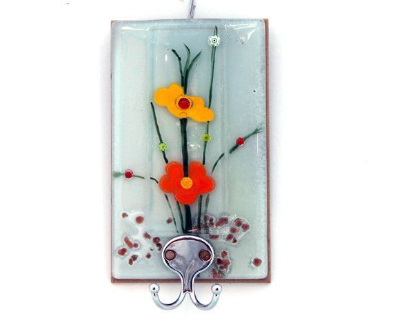 Colored Glass Wall Decor : Fused glass wall hanging panel spring color decor