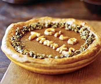 Instead of making pumpkin pie again this holiday season, make this butternut squash pie. Kids love the pumpkin seed topper.