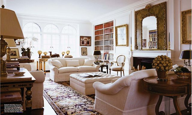 Lee Radziwill's New York apartment, published Elle Decor. Image via Cote De Texas