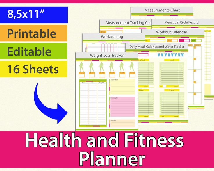 "Fitness planner editable, Workout Planner, Health Planner, Weight loss journal, Weight Loss Planner, Workout planner printable 8.5 x 11"" PDF by AllPrintableDesigns on Etsy https://www.etsy.com/listing/218718673/fitness-planner-editable-workout-planner"