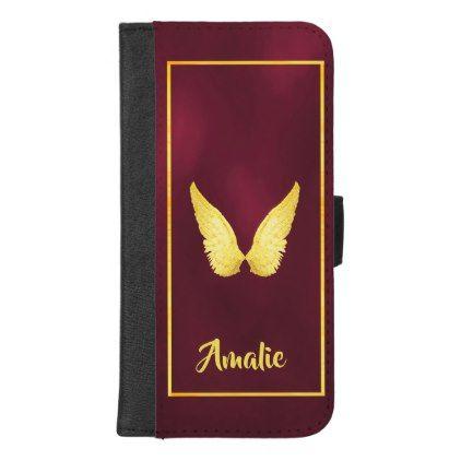 Faux gold angel wings on elegant burgundy iPhone 8/7 plus wallet case - marsala style cyo unique custom