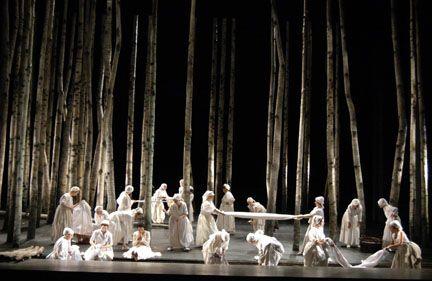 Birch tree forest. From an Opera set (Eugene Onigen). Like the stark quality.