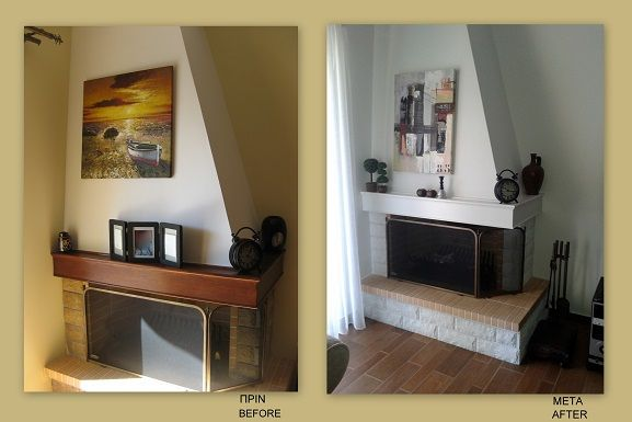 I painted the fireplace white and i also changed the decoration.