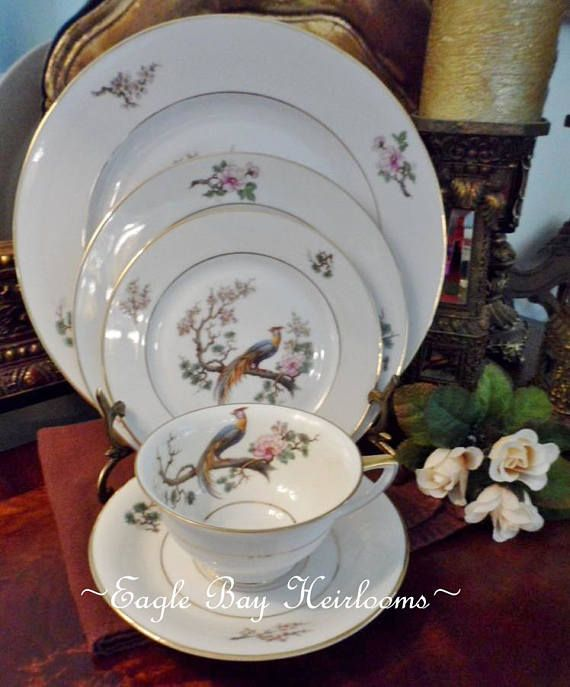 white plate Germany China floral and birds decorative plates Vintage 3 Royal Bavarian german dinnerware Humming bird and flowers plates