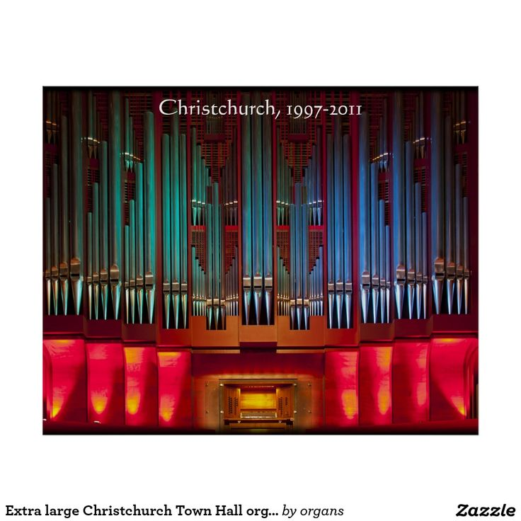 Extra large Christchurch Town Hall organ poster