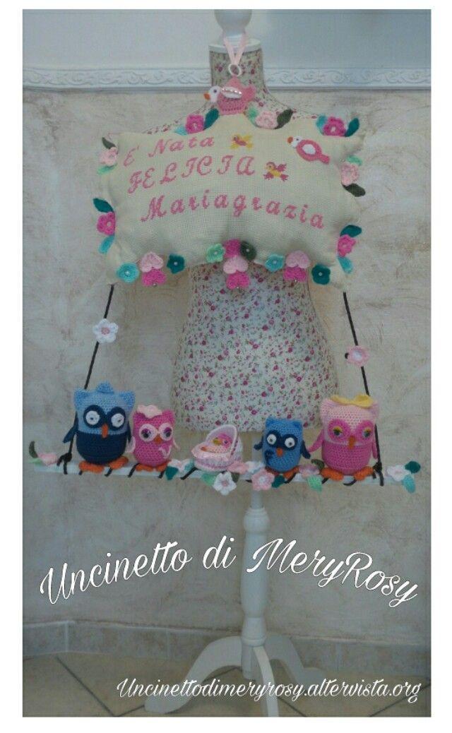 Fiocco nascita punto croce #fiocco #fiocchi #nascita #puntocroce #ricamo #handmade #fattoamano #diy #bebè #bebe #bimba #baby #coccarda #flake #flakes #rosette #crossstitch