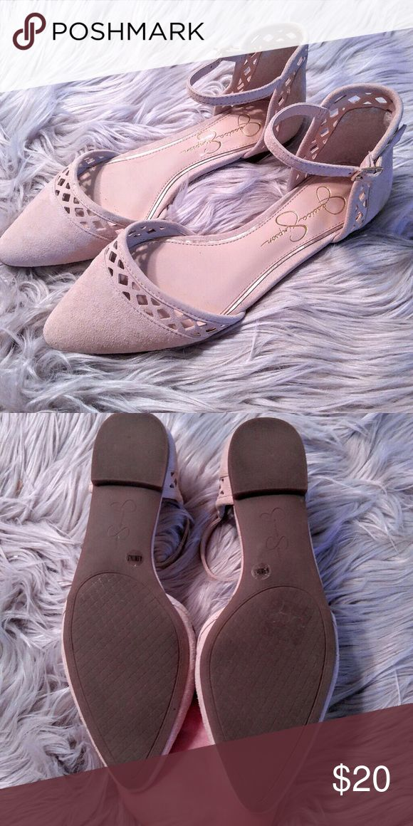 Jessica Simpson Pointed Toe Flat Ankle Strap Shoes Jessica Simpson Pointed Toe Flat Ankle Strap Shoes Laser cut details and soft suede leather uppers. Size 6 5 in excellent condition. Jessica Simpson Shoes Flats & Loafers
