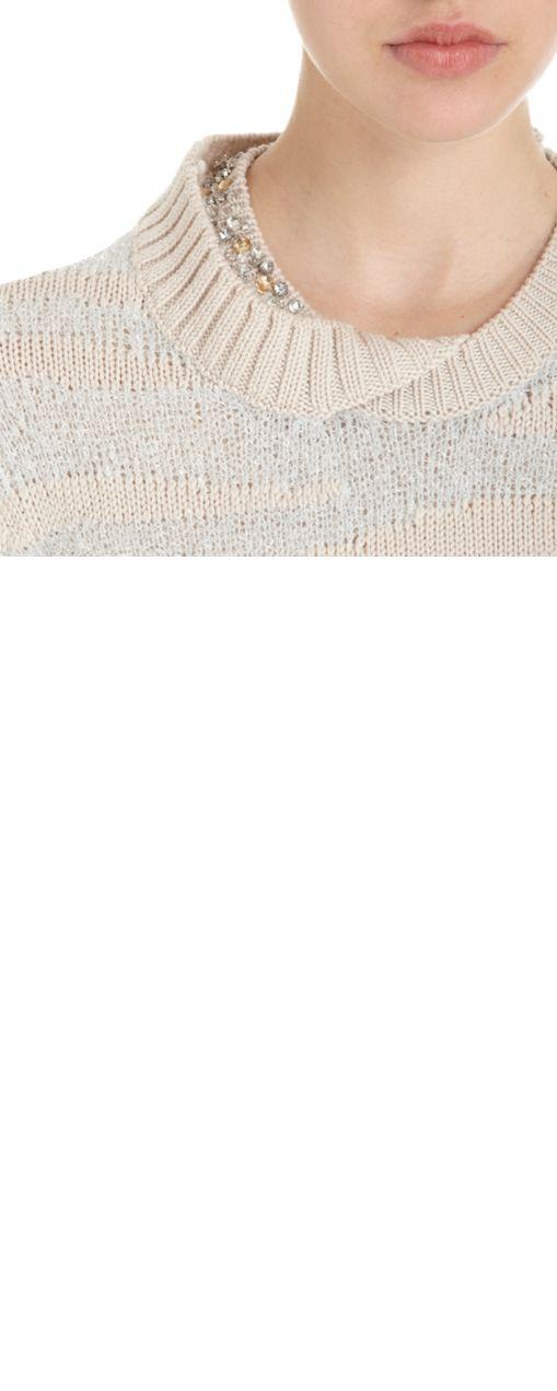 3.1 Phillip Lim Jeweled Neckline Striped Knit Sweater