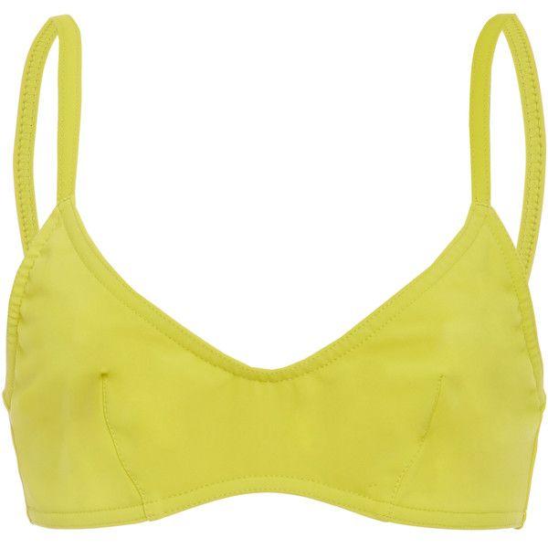 Karla Colletto Varia Bikini Top (3.290 ARS) ❤ liked on Polyvore featuring swimwear, bikinis, bikini tops, yellow, tankini tops, yellow bikini top, swim suit tops, karla colletto swimwear and swim tops