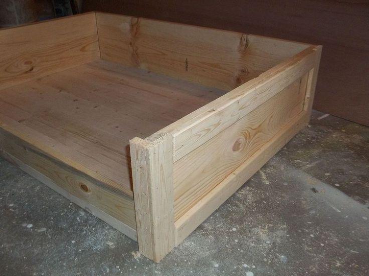 Make your own wooden dog bed frame.