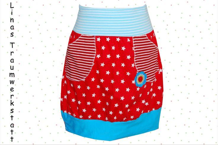Rock Hüftrock Retro Stars and Stripes rot s- XL von Linas-Traumwerkstatt auf DaWanda.com