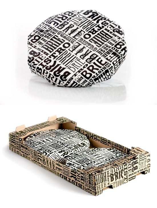 type packaging for brie, very striking monochrome