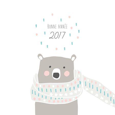 Toute jolie, cette carte de voeux Illustration ours polaire avec sa petite écharpe et ses couleurs rose, bleu, blanc plaira à coup sûr. Ses joues roses et sa fourrure marron feront le bonheur de tous ceux qui la recevront... Souhaitez un très belle année avec Popcarte !