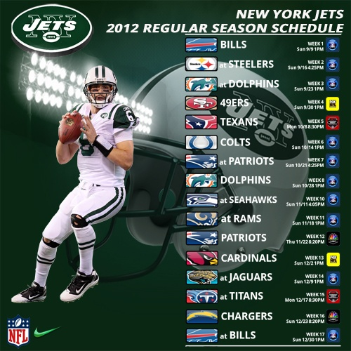 New York Jets 2012 Schedule
