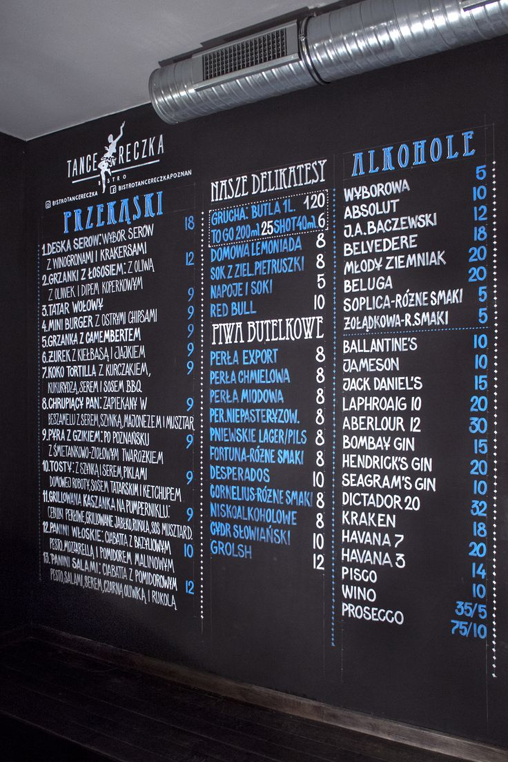 Chalk markers menu at Bistro Tancereczka, Poznan, Poland by Aleks Skrok