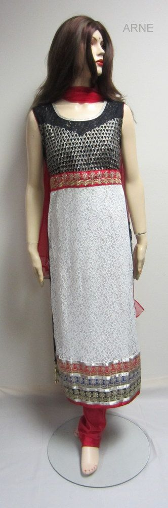 Black and white straight-cut chudidar with red accents
