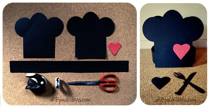 Cómo hacer un gorro de cocinero de cartulina http://areyoukiding.com/camisetas-disfraz-cocineros-y-superheroes/