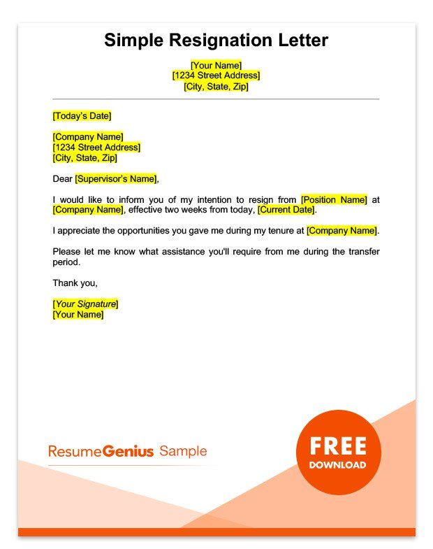 A sample simple two weeks notice resignation letter ashy