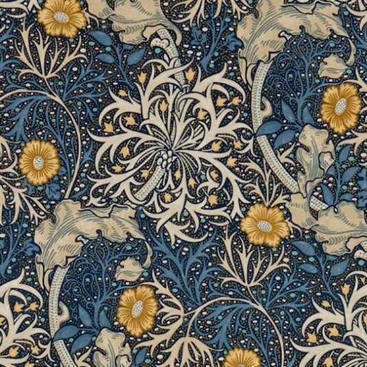 Morris Seaweed Fabric From the Morris & Co collection 'Morris Seaweed' design in ink and woad shows a free flowing and sinuous pattern which captures the underwater movement of plants.
