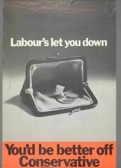 1970 General Election poster for the British Conservative Party, depicting a near-empty purse with the caption 'Labour's let you down. You'd be better off Conservative'.
