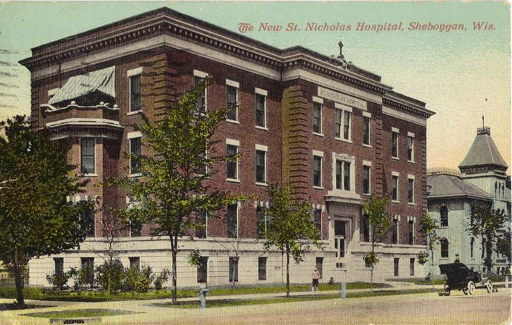 "The ""new"" St Nicholas Hospital. This is at the corner of 9th St and Superior Ave. It shows the new addition to the ""original"" St Nicholas Hospital, which can be seen behind and to the right in this shot. This would have been on Superior at 10th St. The original was later torn down, and an addition built to the new building in the same style as the newer wing."