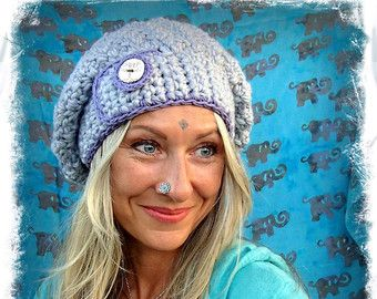 Light GREY Purple SLOUCHY Beanie hat Crochet slouch hat TREE button Girls beret Winter Urban Boho Baggy Hat Womens Hats Fall Beanie GPyoga