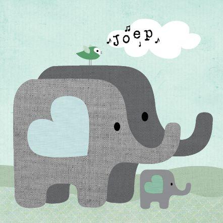 Geboortekaartje Joep  www.hetuilennestje.nl Familie, olifant, vogel, wolken, groen, blauw.