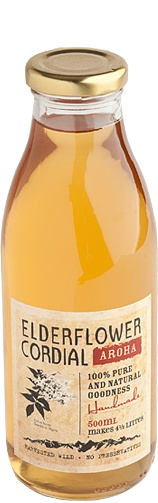 Aroha Drinks : Elderflower Cordial. I love the labels on the Aroha range they have a old school look to them :)