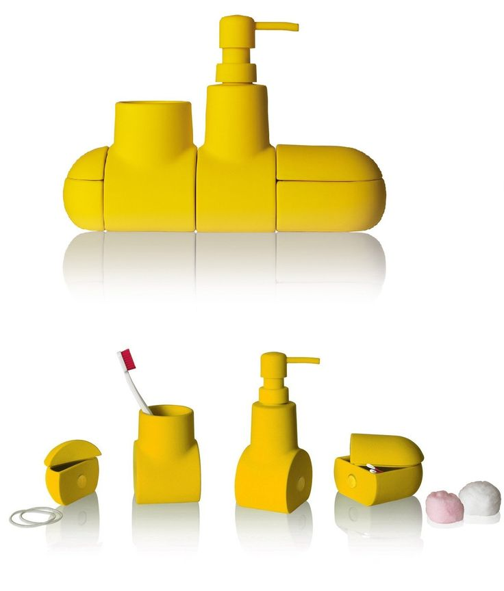 Seletti SUBMARINO - set accessori bagno in porcellana gommata colore giallo