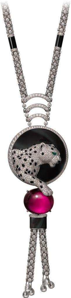CARTIER. {Close up} Necklace - platinum, one 41.80-carat oval-shaped cabochon-cut rubellite, obsidian, onyx, pear-shaped emerald eyes, pear-shaped rose-cut diamonds, brilliant-cut diamonds. #Cartier #ÉtourdissantCartier #2015 #HauteJoaillerie #HighJewellery #FineJewelry #Rubellite #Obsidian #Emerald #Onyx #Diamond