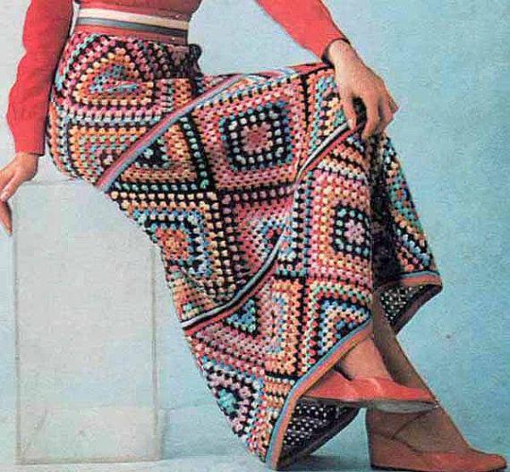 1970s Granny Square Maxi Skirt VINTAGE CROCHET PATTERN Pdf, Boho/Retro/Tribal/Folk Long Skirt, Instant Pdf from GrannyTakesATrip 0238
