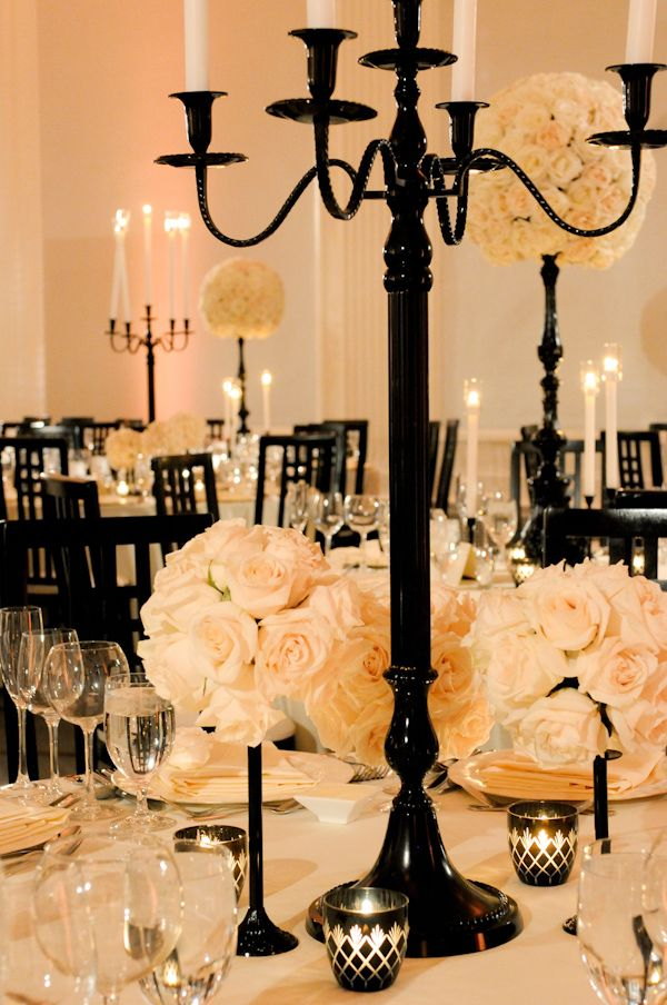 dramatic black decor and blush roses create a striking contrast  #hollywoodweddingIdeas, White Flower, Tables Sets, White Wedding, Black And White, Candles, Black White, Centerpieces, Center Piece