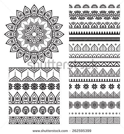 Brush collection with Mandala. Ethnic decorative elements. Hand drawn background. Islam, Arabic, Indian, ottoman motifs.