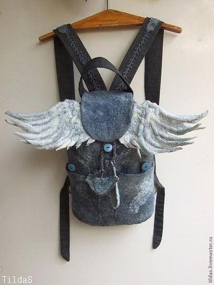 """Рюкзаки ручной работы. Ярмарка Мастеров - ручная работа. Купить Рюкзак """"Городской Ангел"""" войлок плюс текстиль. Handmade. Серый"""