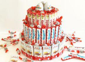 Schokoriegel-Torte ohne Backen mit Kinder Country, Kinder-Riegel und Duplo