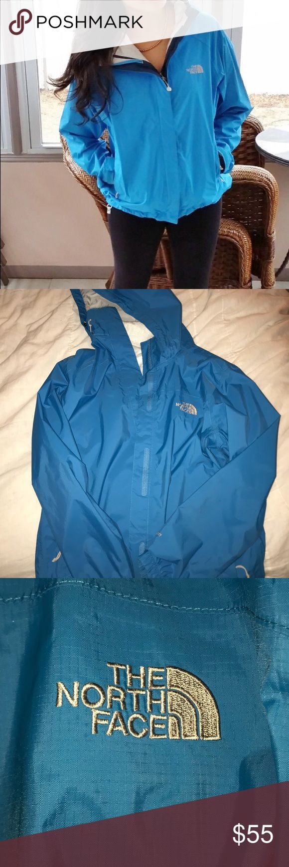 Super cute sky blue north face rain jacket Excellent condition rain jacket! Just was too small on me:/ absolutely love the color and style of the jacket! Feel free to ask any questions:) North Face Jackets & Coats Utility Jackets