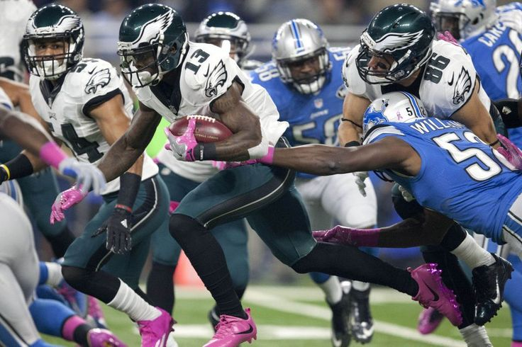 Eagles vs. Lions:  24-23, Lions, October 9, 2016  -         Philadelphia Eagles wide receiver Josh Huff (13) attempts to run away from Detroit Lions outside linebacker Antwione Williams (52) during the first quarter at Ford Field. (Raj Mehta|USA TODAY Sports)
