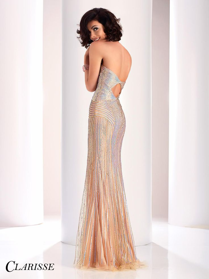 Clarisse Prom Dress 4854. Spectacular Clarisse strapless iridescent sequins dress, sweetheart neckline with sexy illusion mesh cutout and keyhole cutout on back. Get yours today at the link below! http://clarisse.com/locator/index.php