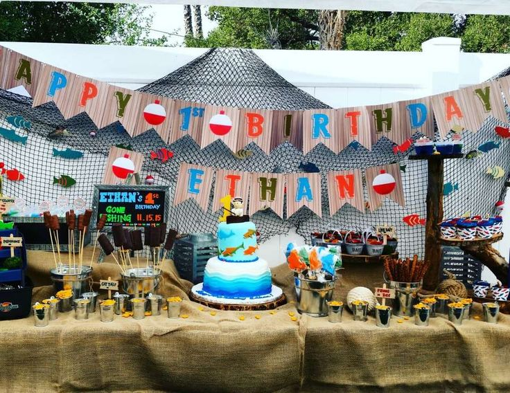 96 best fishing party images on pinterest birthday party for Fishing theme party ideas