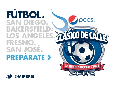 """Pepsi - Live For Now!  Ready to go from streetlights to spotlights?! Do you have the skills to be an ALL STAR on ANY playing field PROVE IT, for a chance to earn a spot on the 2012 Pepsi Clasico de Calle All Star Team!  Pepsi Clasico de Calle is a street soccer tour challenge for the """"best of the best"""" in street soccer to come out and prove why you have the most swag on any field or street! This challenge is open to guys and girls 18 and over. Sign up at miPepsi.com: All Star, Field Prove, Spotlight"""