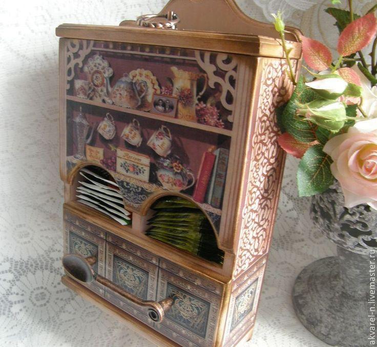 """Купить Чайный домик """"Розовый чай"""" - чайный домик, чайный домик декупаж, для чайных пакетиков"""