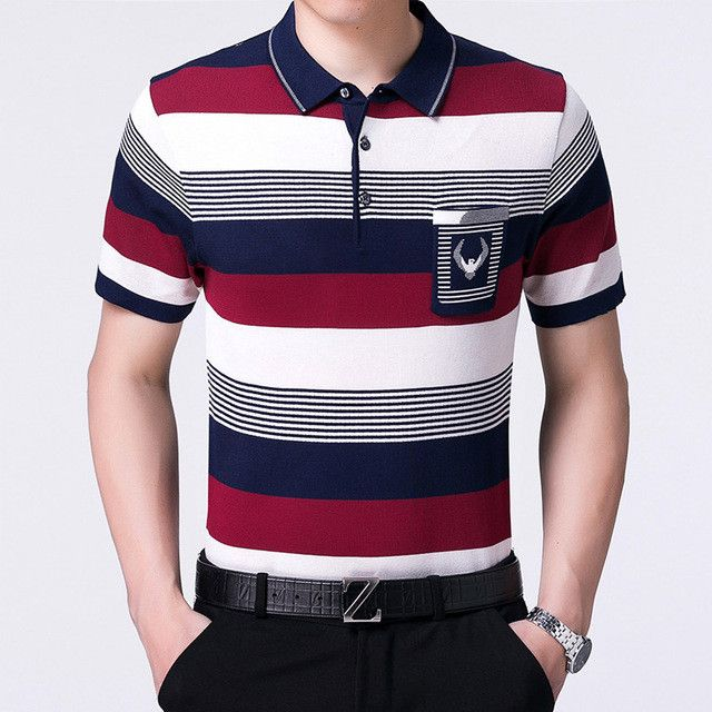 2017 casual short sleeve business mens shirts male striped fashion brand polo shirt designer men tenis polos camisa social 3007