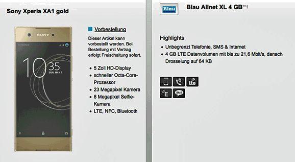 Deal mit dem Neuen Sony Xperia XA1 mit Vertrag für 1,00€ zum Blau Allnet XL 4 GB mit 4 GB LTE Internet-Flatrate , Telefon Allnet-Flat und eine SMS-Flat in alle dt. Mobilfunknetze mit 19,99€/Monat Grundgebühr und nur 8,03 € rechnerische monatliche Grundgebühr im O2 Netz.   #Sony #XperiaXA1