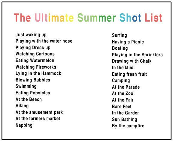 Summer Shot List