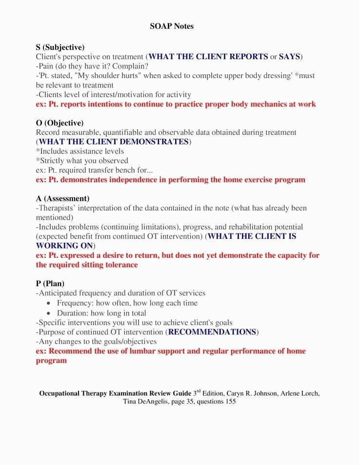 Occupational Therapy Soap Note Cheat Sheet Inspiring 23 Soap