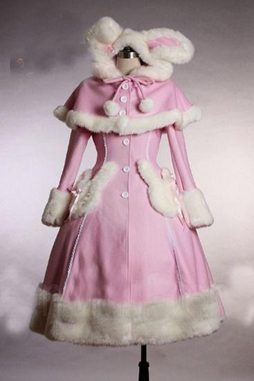 gothic christmas lolita coat~pink+white fur~cute~mature~nice~popular~free SH #Handmade #BasicCoat
