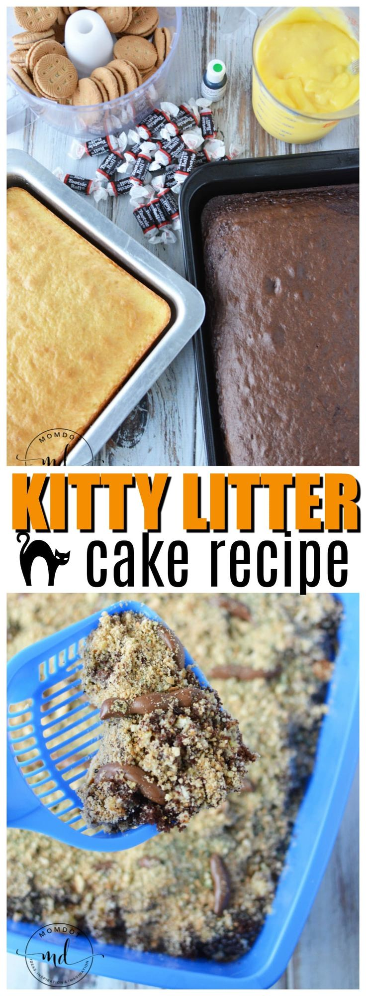 Kitty Litter Cake is grossest and tastiest recipes to make Halloween a scream! Serve up kitty litter cake recipe with box cake mix and tootsie rolls