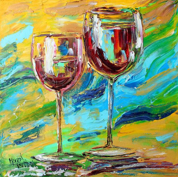 Original oil painting Wine for Two on canvas by by Karensfineart