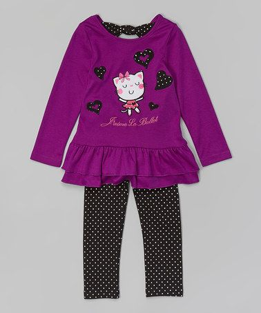 This Purple Ballet Cat Tunic & Leggings - Toddler & Girls is perfect! #zulilyfinds - $16.99